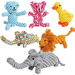 Pety Pet Teaser Teeth Cleanning Toys Set of 5, TaoLeLe Mini Animal Bear Duck Lion Monkey Elephant Shaped Rope Dolls for Small Dog Puppy Biting