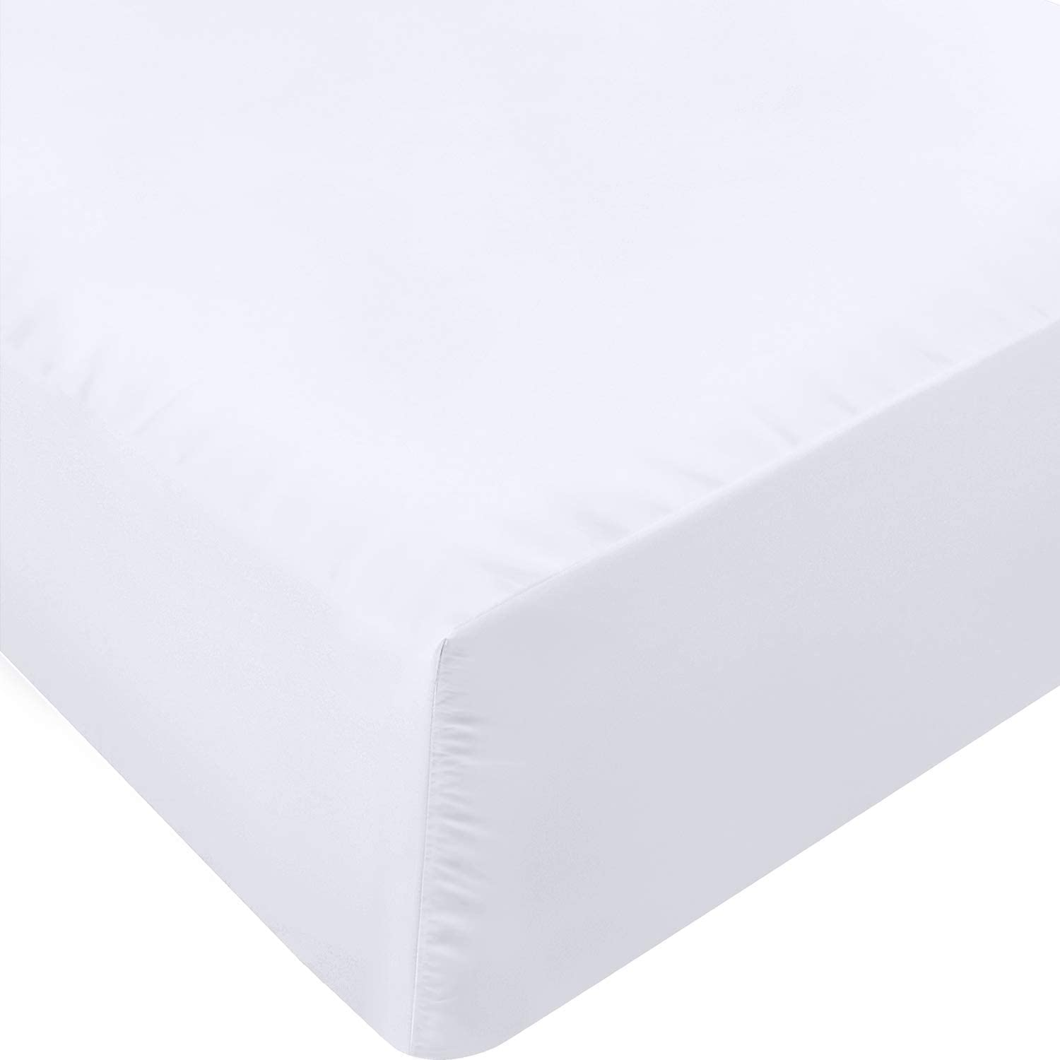Utopia Bedding Fitted Sheet - Soft Brushed Microfiber - Deep Pockets, Shrinkage and Fade Resistant - Easy Care - 1 Fitted Sheet Only (Queen, White): Home & Kitchen