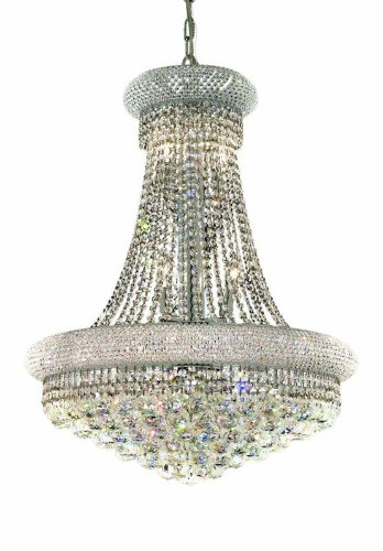 (Elegant Lighting 1800D24C/SS Primo Collection 14-Light Hanging Fixture Swarovski Strass/Elements Crystals with Chrome Finish)