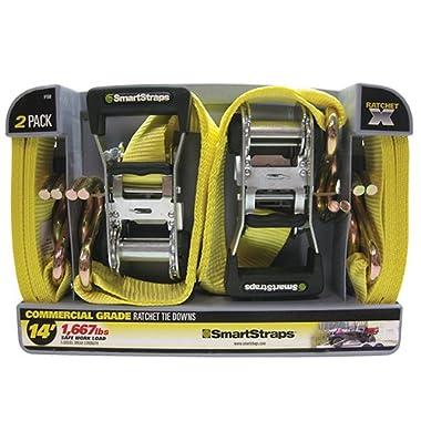 SmartStraps Ratchet Straps - 14ft YW RatchetX 2pk 5,000lb