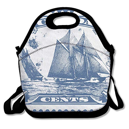 (Clipart Bluenose Canadian Stamp Neoprene Lunch Bag Box Insulated Lunch Bag for Men and Women Meal Prep Lunch Tote Boxes for Outdoor Work School)