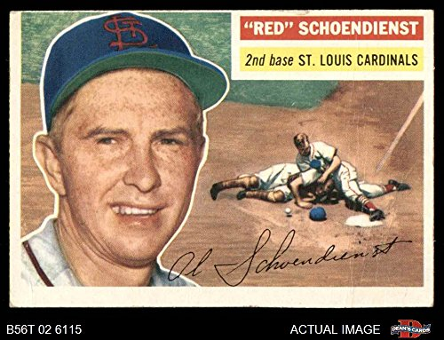 1956 Topps # 165 GRY Red Schoendienst St. Louis Cardinals (Baseball Card) (Grey Back) Dean's Cards 2 - GOOD Cardinals