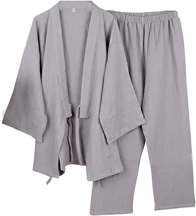 Fancy Pumpkin Les Hommes de Style Japonais Robes Vrac Pur Coton Kimono Pyjamas Suit