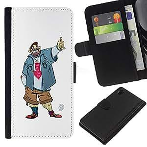 KLONGSHOP // Tirón de la caja Cartera de cuero con ranuras para tarjetas - Tío Chico Hombre Penal Caricatura Sonrisa - Sony Xperia Z2 D6502 //