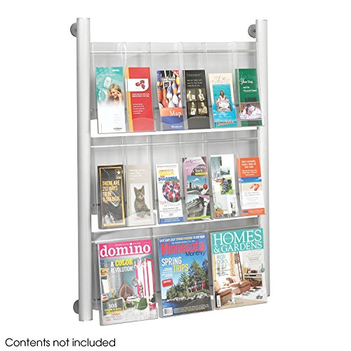 Safco Luxe Magazine Display Rack - 9 pocket, Silver-SL by Safco