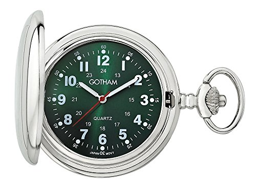Gotham Men's Silver-Tone Polished Finish Covered Quartz Pocket Watch # GWC15042SG