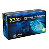AMMEX - X3D42100-BX - Nitrile Gloves - Disposable, Powder Free, Latex Rubber Free, Food Safe, 3 mil Thick, Small, Blue Nitrile Gloves (Box of 200)