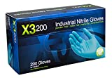 AMMEX - X3D49100-BX - Nitrile Gloves - Disposable, Powder Free, Latex Rubber Free, Food Safe, 3 mil Thick, XX Large, Blue Nitrile Gloves (Box of 200)