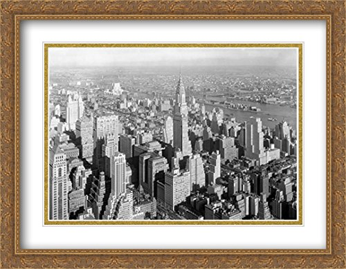 New York City Chrysler Building -1932 2X Matted 36x28 Large Gold Ornate Framed Art Print by The Cityscape Art Print Series 1932 Gold Framed Print