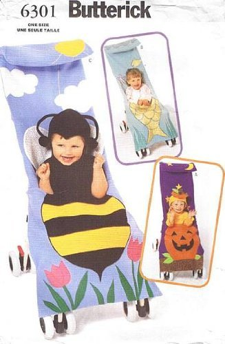 Butterick 6301 Halloween Stroller Covers Pattern, Pumpkin, Bumble Bee, Fish - Fish Costume Pattern