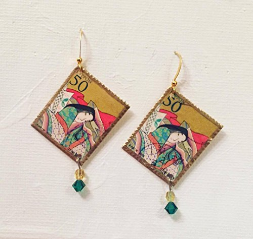 Vintage Postage-Stamp Earrings - Japan ()