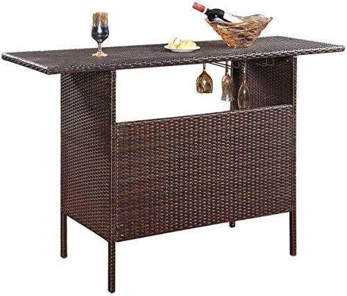SPSUPE Outdoor Patio Rattan Bar Table, Wicker Bar Counter Table with 2 Steel Shelves and 2 Sets of Rails, 55.1 X 18.5 X 36.2 L x W x H , Ideal for Garden, Backyard and Pool Side, Brown