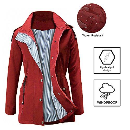 Antipioggia Con Active Donna Unbrand Outdoor Giacca Da Trench Impermeabili Rosso Cappuccio xnqBZZwt