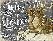 "Jada Venia 9.75"" x 7.75"" Vintage Reindeer Merry Christmas Light"