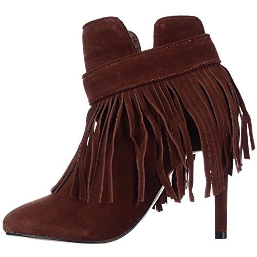 Boots June Cognac M Ambrose Fringe US 6 Ankle 442761 Heeled wFB4FrfqX