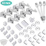 Baby Cabinet Locks Child Safety Kit,43 Pack  -8 Spring Cabinet Locks+ 1 set of screws,8+8 Clear Corner Protectors,10 Outlet Plug Covers +5 keys,3 Child Safety Locks,No Drill Required Baby Proof Set
