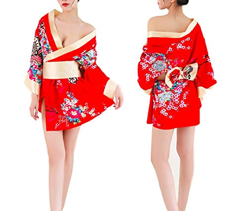 Moon Market Women's Japanese Floral Silky Kimono Cosplay Costume Sexy Lingerie Dress Party Night Robe Wrap Outfit (Red) Strip Dance Show Dancer Bed Room Night Club Style Ribbon Model Futon Cardigan