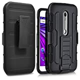 Moto G 3rd Gen Case,Gift_Source [Kickstand] [Belt Clip] Shockproof 3 Layer Full Body Protective Case Hybrid Rubberized Hard PC Rugged Armor Defender Cover For Motorola Moto G3 (3rd Generation) [Black]