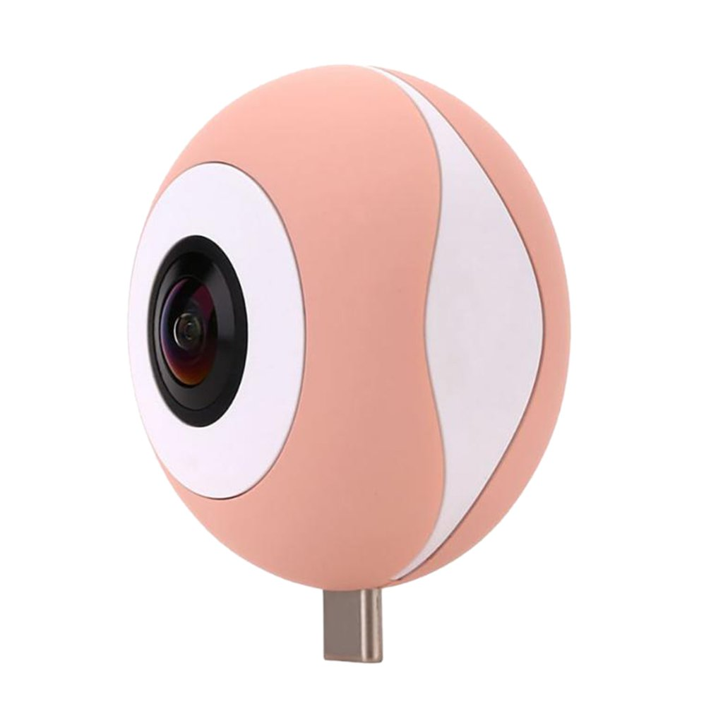 Dovewill Dual 210° Fisheye Lens HD VR Camera for Android Phone Live Seamless Stitching Pink