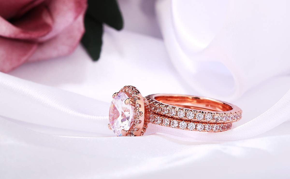 3 Carat Round CZ Solitaire 2 Pieces Ring Set for Women, Halo Style Rose Gold Plated Size 9 by Shengtai (Image #4)