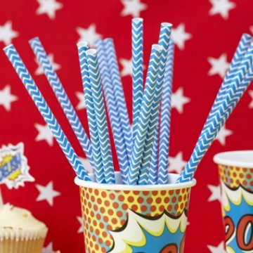 Superhero Party Chevron Paper Straws