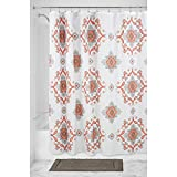 InterDesign Medallion Paisley Fabric Shower Curtain, 183 X 183cm - Coral/Taupe