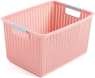 UMCCY Almacenaje de Ropa de plástico Cesta Cesta DE Acabado DE Escritorio Armario Caja de Almacenamiento de Juguete Cesta Pequeña de ratán, Rosa (Medio): Amazon.es: Hogar