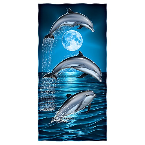 - Dolphins Moon Cotton Beach Towel