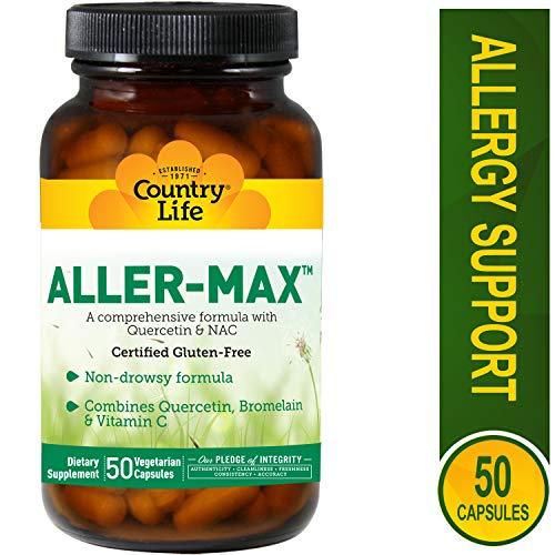 Country Life Aller-Max - 50 Vegetarian Capsules | Non-drowsy Formula | Combines Quercetin, Bromelain & Vitamin C