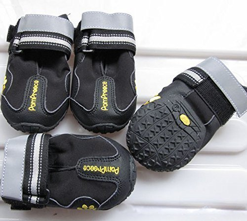 Colorfulhouse Waterproof Pet Boots for Medium to Large Dogs Labrador Husky Shoes 4 Pcs (Black, 4 (2.5''x1.9'')) by Colorfulhouse®