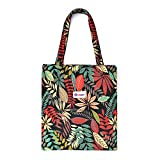 LIFEMATE Floral Tote Bags Waterproof Tote Shoulder Handbag for Girls' Shopping Travel Outdoor (Floral Black)