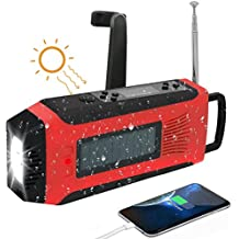 Portable Crank Emergency Battery Radio, SAPE Solar AM/FM//NOAA Digital Weather Radio with 3W LED Flashlight, SOS Alarm & 2000MAh Rechargeable Battery for Cell Phone Charging
