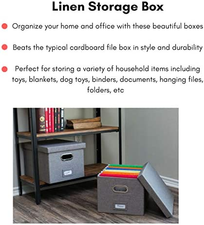"""51c6 3vaTdL. AC Internet's Best Collapsible File Box Storage Organizer with Lid - Decorative Linen Filing & Storage Office Boxes – Hanging Letter/Legal Folder – Home Office Bins Cabinet – Grey Container - 1 Pack    LINEN FILE ORGANIZER WITH LID: The linen file organizer is the perfect storage box to store all important documents, folders and paperwork while still providing a soft accent to the room/office with its decorative designLETTER or LEGAL FILES: The storage organizer may fit both letter and legal-size files/paperwork fitting your unique filing system.COLLAPSIBLE FILING BOX: The storage container collapses down simply for easier storage when not in usePORTABLE - STACKABLE - VERSATILE: The collapsible storage file bin is equipped with easy access carrying handles and is extremely durable for stacking multiple filing boxes on top of one another. Equipped with a label window for simple organization and may be used for storing toys, closet accessories and other items outside of files.FILE FOLDERS NOT INCLUDED. INCLUDES 1 FILE BOX. DIMENSIONS: Interior Dimensions: 15""""(38.1cm) Width x 12""""(30.5cm) Depth x 10""""(25.4cm) Height; Exterior Dimensions: 16.25"""" Width x 13.25"""" Depth x 10.75"""" Height"""