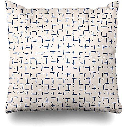 - Throw Pillow Covers Batik_Ikat_Tie_Dye_Hand_Shibori_Ink_Modern_Folk_Watercolor_Indigo_Endless_Pattern_Vintage_Design Home Decor Pillow Case Square Size 18 x 18 Inches Pillowcase