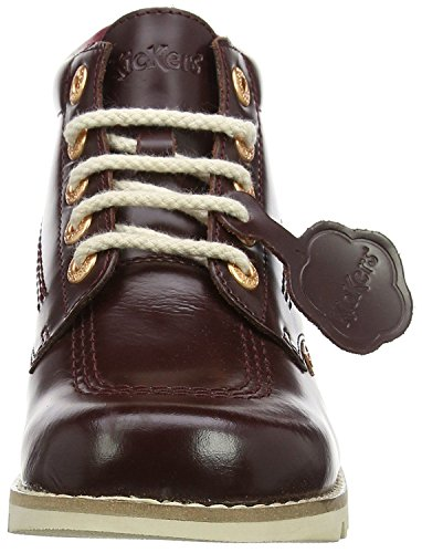 Kickers Hi Core Burgundy Leather Womens Mid Boots-42