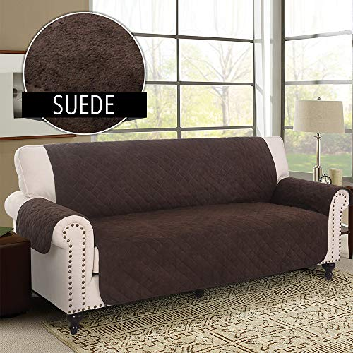 (RHF Faux Suede Anti-Slip Sofa Cover, Couch Covers for 3 Cushion Couch, Couch Cover, Sofa Covers for Living Room,Couch Covers for Dogs, Sofa Slipcover, Couch Protector (Sofa: Chocolate))