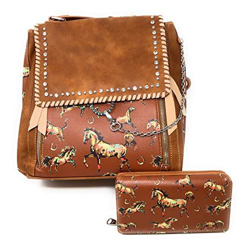 - Nickanny's Horse Print Multi Pocket Backpack Sling with Horse Wallet -Crossbody Convertible-Photography Rucksack Bag (Brown)