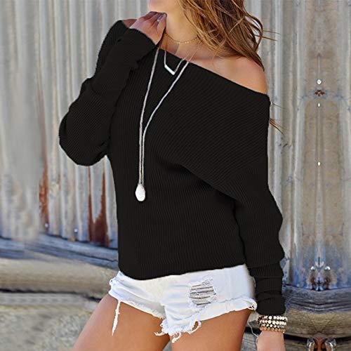 Noir Pull Hauts Femmes Over Sweater Blouse Pull Hiver Nue Shirt Tunique Manche Casual Epaule laamei Longue Tricot Chemisier 1pfUxTnT