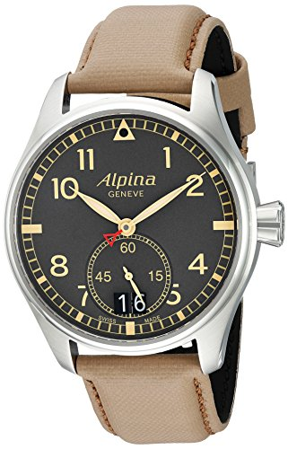 Alpina-Mens-STARTIMER-PILOT-BIG-DATE-Quartz-Stainless-Steel-and-Leather-Casual-Watch-ColorBeige-Model-AL-280BGR4S6