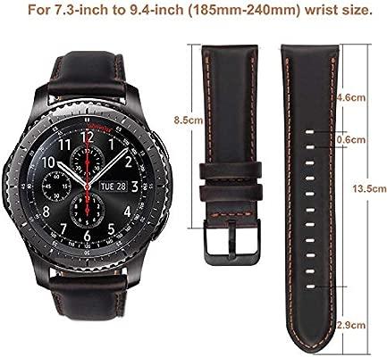 MroTech Correa Gear S3 Compatible Galaxy Watch 46mm Correa 22mm Piel Banda de Cuero Pulseras de Repuesto para Huawei 2 Classic/Watch GT, Gear S3 ...