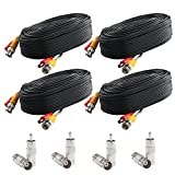 Postta BNC Video Power Cable (4 Pack 60 Feet) Pre-made All-in-One Video Security Camera Cable Wire with Eight Connectors for CCTV DVR Surveillance System