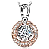 NINASUN Gifts for Women Valentines Day Rose Gold Necklace s925 Sterling Silver Necklace Pendant AAA CZ Fine Jewelry Anniversary Birthday Day Gifts for Wife Her Girlfriend Mom Daughter The London Eye