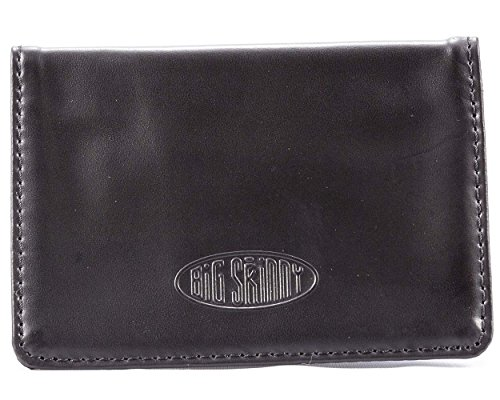 Big Skinny Card Case Leather Slim Wallet, Holds Up to 14 Cards, Black (Leather Open Sided Mini Skinny Card Case)