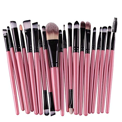 20 pcs Makeup Brushes Set Wool Make-up Toiletry Kit Professional Face Eyeliner Lips Blush Contour Foundation Cosmetic Brushes Set Tools (Pink)