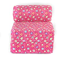 Childrens Studio Chair Sleeper  Jr. Twin 24, Pink Flower