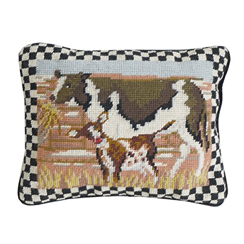 C&F Home Needlepoint 4 Seasons Country Cow Needlepoint Pillow 9 x 11 Brown (Brown Needlepoint)
