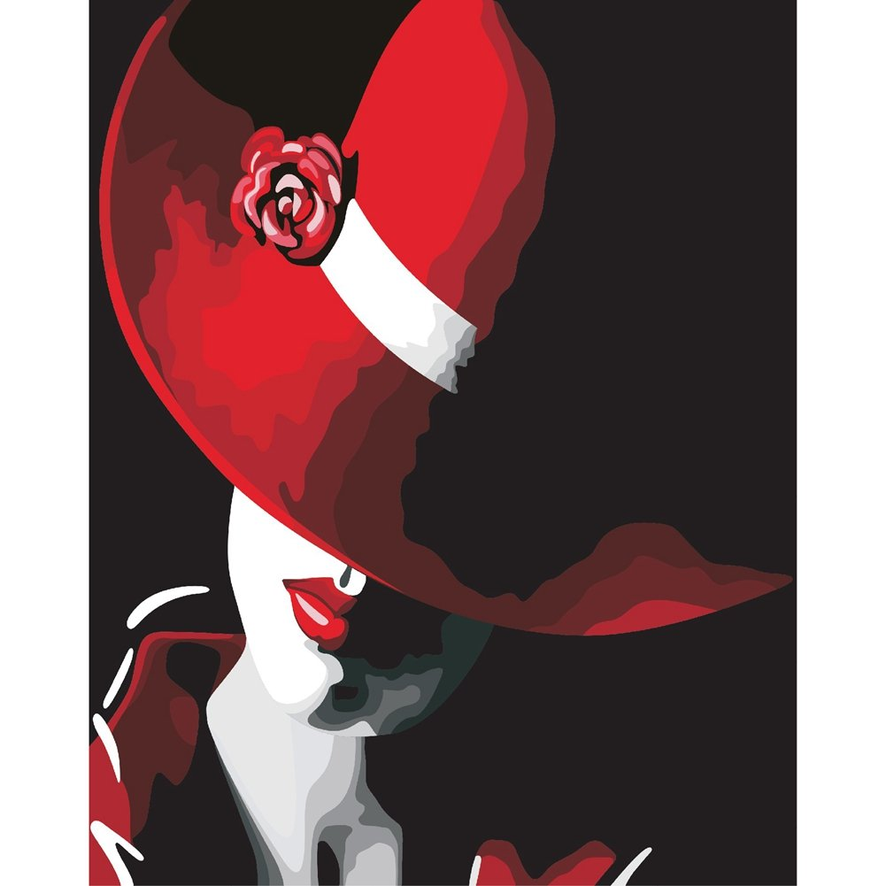 KAYI Belle donne in Red Hat Pittura ad olio con numeri Kit - Kit di pittura a olio fai da te per adulti, bambini - Pittura artigianale per la casa Decorazioni per la casa 40 x 50 CM