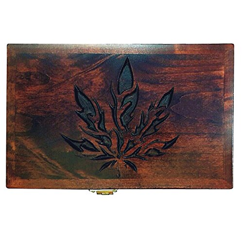 Airtight-Herb-Stash-Box-with-Raw-Rolling-Tray-Lock-and-Mirror-Removable-Trays-Handcrafted-Wooden-Weed-Container-for-Smoking-Marijuana-or-Tobacco-Red-Leaf-Tokebox-Made-in-USA