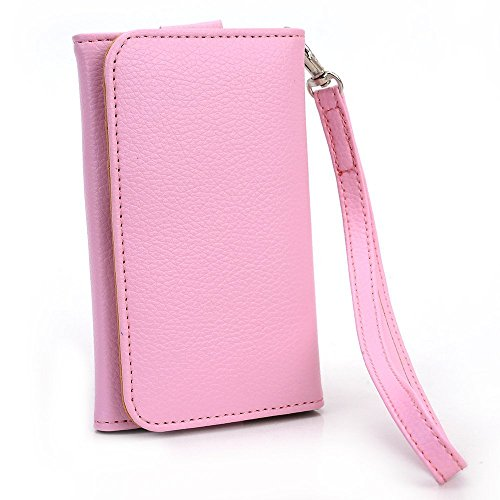 Samsung Brightside Mobile Phone Wallet Pink Clutch Carrying Cover Case Pouch with Bonus Mini Stylus Earphone Plug (Color & Style May Vary) + EnvyDeal Velcro Cable Tie