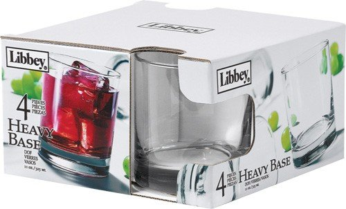 Libbey 4-Piece Heavy Base Old Fashioned Glasses, 11-Ounce, - Glass 11 Oz Clear